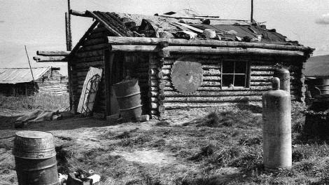 Summer-scene-of-a-village-log-cabin